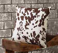 COWHIDE ACCENT PILLOW : PRINTED FAUX BROWN WHITE HIDE CABIN LODGE RANCH CUSHION