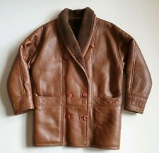 CITY SHEEPSKIN COAT JACKET Brown Size L (46) Double Breasted Made In UK RRP £375