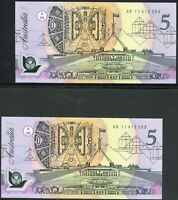 Australian 1992 Pale Green $5 Pair AB11s Fraser Cole QE2 Polymer Banknotes r214i