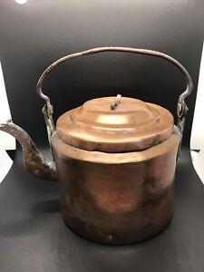 European Primitive Hand Forged Kettle Antique Copper Kettle circa 1870s