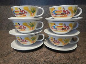 NESCAFE CAFE DESIGN VINTAGE RETRO 1970s 80s SET OF 6 COFFEE CUPS AND SAUCERS