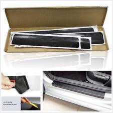 4 X Black Carbon Fiber Car Front Rear Door Plate Sill Scuff Anti-Scratch Sticker