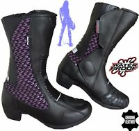 LADIES PURPLE SPEED MAXX WOMENS MOTORBIKE MOTORCYCLE RACING LEATHER SHOES BOOTS