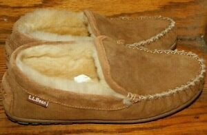 L. L. Bean Tan Moccasin Shearling Leather Slippers Women's 7M- Close to Mint Con