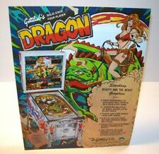 Dragon Pinball FLYER Original Gottlieb 1978 Game Art Sheet Sexy Beauty And Beast