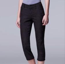 NWT $50 Womens Simply Vera Wang Jacquard Textured Capri Crop Pant BLACK 4  Petite