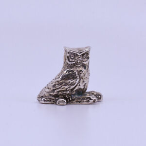 Fabulous Sterling Silver Owl Paperweight Figure, Hallmarked Collette 925