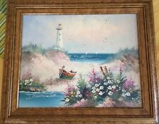 OIL PAINTING on canvas, SIGNED & FRAMED of Beach Landscape