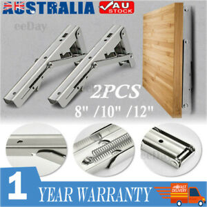 "8-12"" Folding Heavy Duty Shelf Bracket Triangle Bench Mounted Table Wall Hinges"