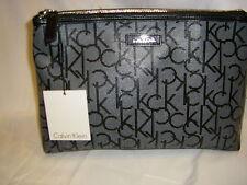 NWT Calvin Klein Black & White Saffiano Leather Travel Cosmetic Bag Clutch $68