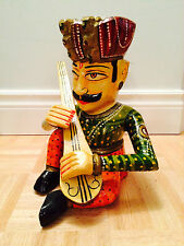 """9"""" - Hand Carved Wooden Decorative Multi-Colored Musician Playing Citar"""