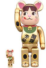 Medicom Toy Be@rbrick Peko Maneki 100% & 400% Gold Beckoning Cat Bearbrick