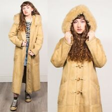 VINTAGE SHEEPSKIN STYLE COAT JACKET WOMENS FAUX SHEARLING LINED BEIGE HOODED 10