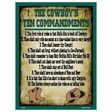 Parking Sign - The Cowboy's Ten Commandments Man Cave Garage Shed Tool Room Mens