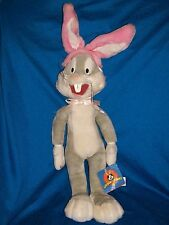 "Bugs Bunny Plush Stuffed Easter Rabbit with Pink Ears 20"" 1998"