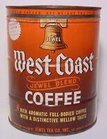 Large Vintage 1950s WEST COAST COFFEE JEWEL T GRAPHIC KEYWIND COFFEE TIN 2 POUND