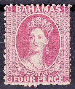 Bahamas 1863-77 QV WMK CROWN CC(REV) 4d PERF 12½ BROWNISH ROSE SG28 FINE MLH OG