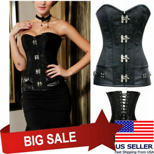 Black/Red/White/Brown Sexy Brocade Steampunk Costume Cosplay Corset w/ Clasps US
