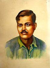 India Vintage Painting Indian freedom fighter Chandra shekhar azad hand kb367