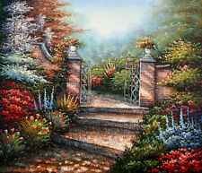 "Hand Painted Garden Oil Painting on Canvas Wall Decor Art Size 24"" x 20"" New"