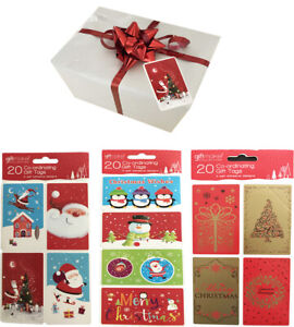20 Self Adhesive Christmas Gift Labels Tags Traditional Xmas Co-ordinating Tag