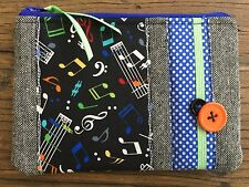 NEW - Handmade Cosmetic Make up bag large Purse Music Notes Tweed Dots fabric