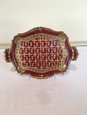 Antique Italian Florentine Wooden Toleware Tray Platter Server. Handled design.