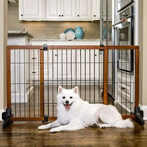 """Extra Wide Tall Adjustable Freestanding Pet Gate - Premium Wood 28""""H x 41-70""""W"""