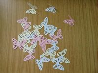 150 PINK WHITE large Perfect Hand punched Butterfly butterflies Paper art 3D