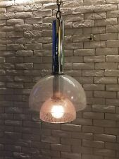 Mazzega glass shade pendant hanging lamp , Murano Space age