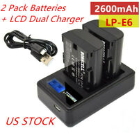 2X LP-E6 LPE6N Battery + LCD Dual Charger for Canon EOS 5D Mark II 6D 60D 70D 7D