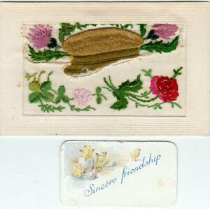 WW1 SILK EMBROIDERED POSTCARD & INSERT CARD SOLDIER'S CAP