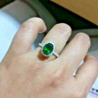 2.50Ct Oval Cut Green Emerald Halo Engagement Wedding Ring 14K White Gold Finish