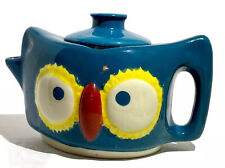 Petite Owl Teapot Teal Green Bright Colors 12 Oz