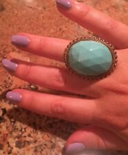 Stephen Dweck Huge Cocktail Turquoise  Ring Bronze   Size 6
