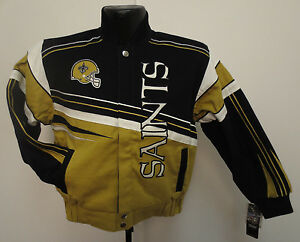 NEW ORLEANS SAINTS NFL FIRST AND TEN YOUTH JACKET COTTON TWILL NFL FOOTBALL NEW