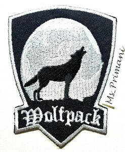 Embroidered Wolf pack Howling Wolf  Sew/Iron on Patch Biker Jeans badge 9x7cm