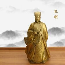 Zhuge Liang Statue Pure Copper Crafts Feng Shui Sculpture Bronze Home Decoration