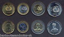 DOMINICAN REPUBLIC COMPLETE FULL COIN SET 1+5+10+25 Pesos 2008-2010 UNC LOT of 4