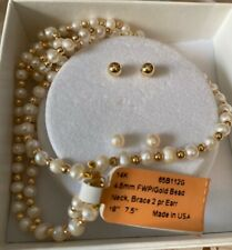"""14k gold bead necklace-earring set with freshwater pearls, (18"""" necklace)"""