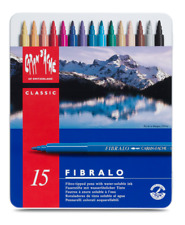 Caran D'Ache Fibralo Fibre Tipped Felt Pens Tin Set of 15 Artist Colour Markers