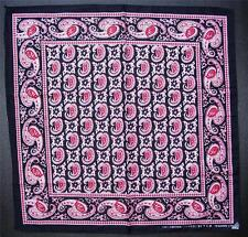 Cotton BANDANNA Paisley Pattern Head Scarf HANDKERCHIEF Black & Red Neck Scarf