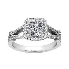 Ring in Split Shank Mounting 1.98 ct Cushion Cut Diamond Engagement