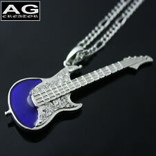 "Mini blue electric guitar cubic pendant with 28"" chain necklace US SELLER"