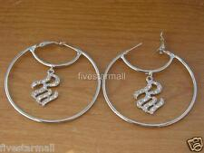 ROCAWEAR & CIRCLE RHINESTONE SILVER JUMBO HOOP PAIR EARRINGS