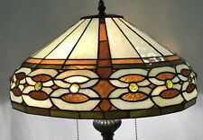 "Vtg Arts & Crafts Mission Stained Slag Glass Lamp Shade Large 16"" Tiffany Style"