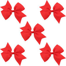 5 PCS Kids Girl Bow Hair Clips Solid Color Hairpins Headwear Baby Hair Accessory