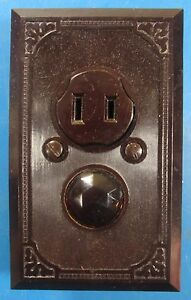 Hubbell Combination Receptacle & Red Jeweled Piolit Light Ribbed Bakelite Plate