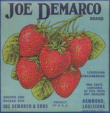 Etikett für Erdbeeren / Kistenetikett - Joe Demarco Brand - USA ca.1950 # 1932