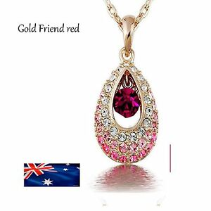 Crystal Gold  Filled Drop Pendant Necklace Rhinestone Jewellery Chin